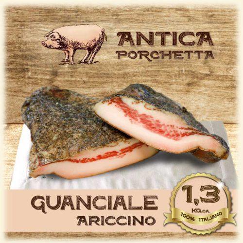 Guanciale di Suino Ariccino 1,3 Kg. circa Guanciale di Suino Ariccino prodotto nelle varianti dolce e piccante e affumicato.