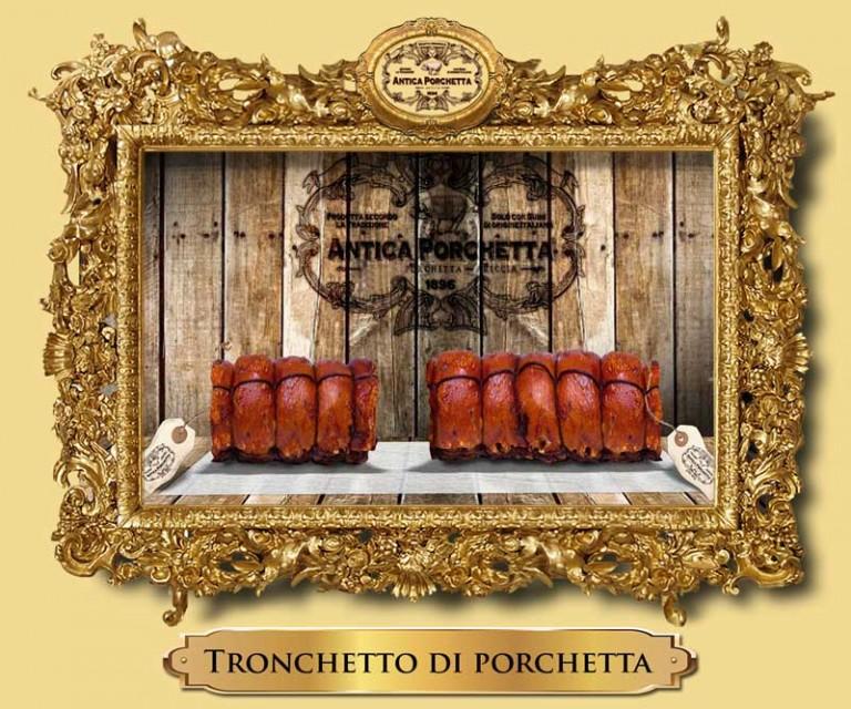 Tronchetto porchetta Ariccia con peso da 4 a 12 Kg.